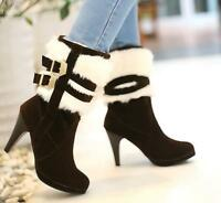 Womens High Slim Heel Pull On Winter Mid-Calf Boots Buckle Fur Trim Shoes Size