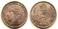 Guatemala-1 Peso 1865. R grande. MBC+/VF+. Plata 24,4 g. ESCASA