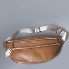 Michael Kors Kenly Women Medium Waist Fanny Pack Sport Leather Bag LUGGAGE BROWN