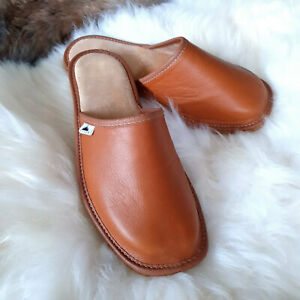 Men's Luxury Handmade 100% Genuine Real Leather Mule Slippers Leather insoles