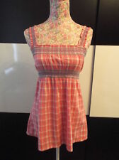 EXCELLENT CONDITION ORANGE WITH WHITE & BLUE CHECK TOP BY E-VIE EVIE SIZE 10