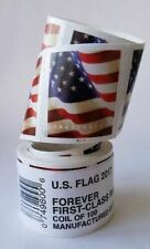 100 USPS Forever Flag Stamps Coil Roll - Free Same Day Shipping Mon-Sat