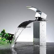 Modern Waterfall Bathroom Basin Faucet Deck Mounted Vanity Sink Mixer Tap Chrome