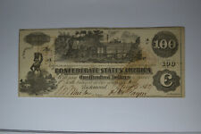 Confederate $100 Note- August 8, 1862 T-39- Ef with 3 Interest Paid Stamps.