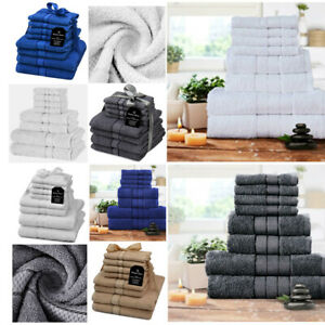 Luxury Towel Bale Set 100% Egyptian Cotton 8Pc Face Hand Bath Bathroom Towels
