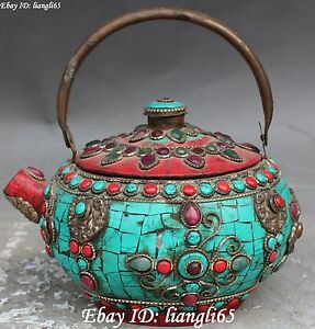16CM Chinese Bronze Turquoise & Red Coral Wine Tea Pot Teapot Flagon Statue