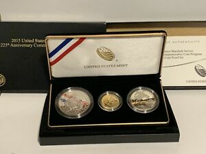 2015 US Marshals Service 3 Coin Set, $5 Dollar 90% Gold Proof, $1 silver