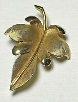 """Vintage Pell Leaf Brushed/Shiny Gold Tone Brooch/Pin 2.5"""" W 2"""" T"""