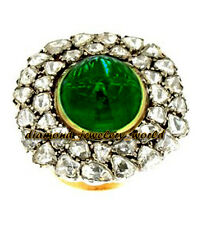 Victorian Estate 4.74cts Antique Cut Diamond Jewelry Emerald Studded Silver Ring