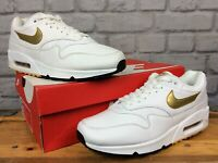 NIKE MENS UK 8 EU 42.5 AIR MAX 90/1 WHITE GOLD LEATHER TRAINERS RRP £120      EP
