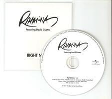 """RIHANNA FT DAVID GUETTA """"RIGHT NOW"""" RARE OFFICIAL 1 TRACK E.U CD PROMO"""