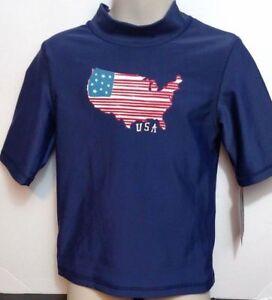 Blue USA American Rash Skin Guard Swim Shirt short sleeve UPF 50+ Cherokee XS