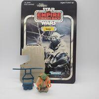 VINTAGE 1980 Star Wars Yoda Figure Pacman Eyes Snake Robe Belt Backpack Cardback