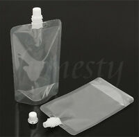 5~20X 100ML/250ML Clear Spout Bags Stand Up Bag Liquid Bag Flask Pouch With Cap