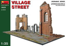 MiniArt Models 1/35 Village Street (2 Ruined Buildings+Diorama Base)