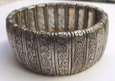 bracelet couleur argent extensible large biiou vintage finement gravé 50