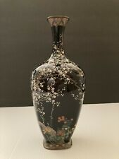 Antique Meiji Japanese Cloisonné Black Enamel Vase w Cherry Blossoms & Birds