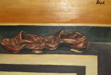 Vintage modernist oil painting still life with shoes signed