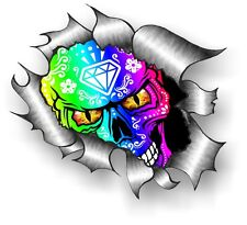 LARGE CLASSIC Ripped Torn Metal Rip Mexican Sugar Skull Vinyl car sticker decal