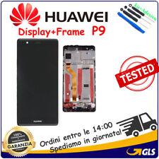 TOUCH SCREEN VETRO e LCD DISPLAY + FRAME Per Huawei P9 EVA-L09 EVA-L29 NERO