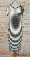 M&S t-shirt dress size 12 short sleeve scoop neck calf length khaki/white stripe