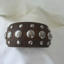 "Chunky Brown Wood Silver Tone Studded Bracelet Bangle 3"" diameter 1-1/2"" wide"