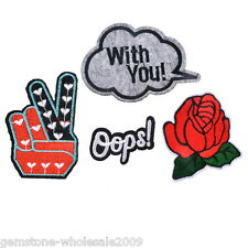 4PCs Mixed Rose Letters Victory Cartoon Patch Iron On Garment Accessories New