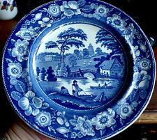 Georgian Pearlware Wild Rose Nuneham Courtenay House blue & white plate Oxford