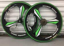 """26"""" wheels magnesium alloy wheels with 7 speed Casette tyre tube disc skewer"""