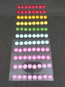 Adhesive Stick on Craft Pearls Rainbow Colours 1cm 10mm Sheet of 88 - Acid Free