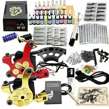 2 Machine Guns Shader Liner Needles Power Supply DIY Set Complete tatoo Kit