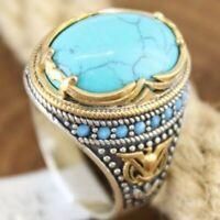Herren Damen Boho Türkis Opal Ringe Natürlicher Edelstein Ring Schmuck Größe6-10