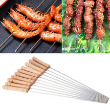 12Pcs Stainless Steel Metal Barbeque Skewer Needle Bbq Kebab Stick Utensil 12""