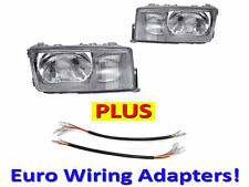 USA DEPO 84-94 MERCEDES BENZ W201 EURO GLASS HEADLIGHT LAMP PAIR+WIRING ADAPTER