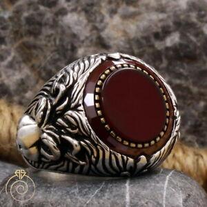 Men Lion Head Signet Ring Aqeeq Gemstone Leo Heraldic Jewelry Anniversary Gift