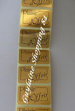 Lot 100 Etiquettes Stickers neuf bijoux cadeaux Plaisir d'offrir doré, or