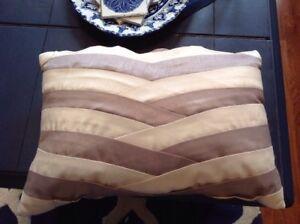 Croscill boudoir Pillow, Gray And Cream Striped, 12 X 17, NWOT