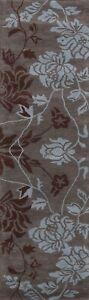 "Floral Modern Hand-Tufted Wool Oriental Runner Rug Hallway Carpet 2' 7' x 9' 10"""