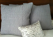 **LAST** 2x Silver PRIVATE COLLECTION CABLE European Pillowcase Covers 65x65cm