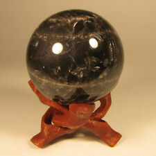 48mm BLACK MOONSTONE Crystal Sphere Ball w/ Stand - Madagascar