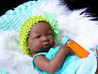 "Cute Baby Girl African American Doll Reborn Berenguer 14"" Vinyl Newborn Silicone"