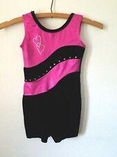 Balera Gymnastics Leotard Sc Child Small Pink Black Velvet Rhinestone Hearts