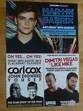 Martin Garrix + Carl Cox, Dimitri Vegas - Glasgow 2015 tour concert gig poster