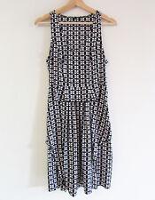 Piper Size 8 Black White Square Print Sleeveless Draped Panel Shift Dress Summer