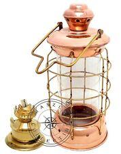 "18"" Nautical Brass & Copper Polished Anchor Lantern Hanging Cargo Ship Oil Lamp"