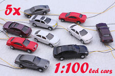 5pcs Painted Head Light Model Car 1:100 Train Layout HO lighted Cars