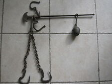 Hanging Weight Scale Cast Iron 3 Hook & Weight #IRON #SCALE #HOOK 1920s