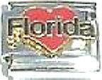 Italian Charm Enamel I Love heart Florida FL US State