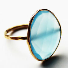 Faceted Semi-Precious Natural Stone Gold Statement Ring - Aqua Chalcedony Size 7