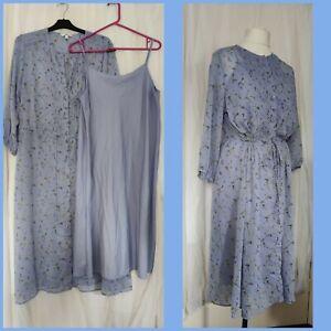 Uniqlo lilac blossom floral print tea dress w/slip Large midi puff cuffs...